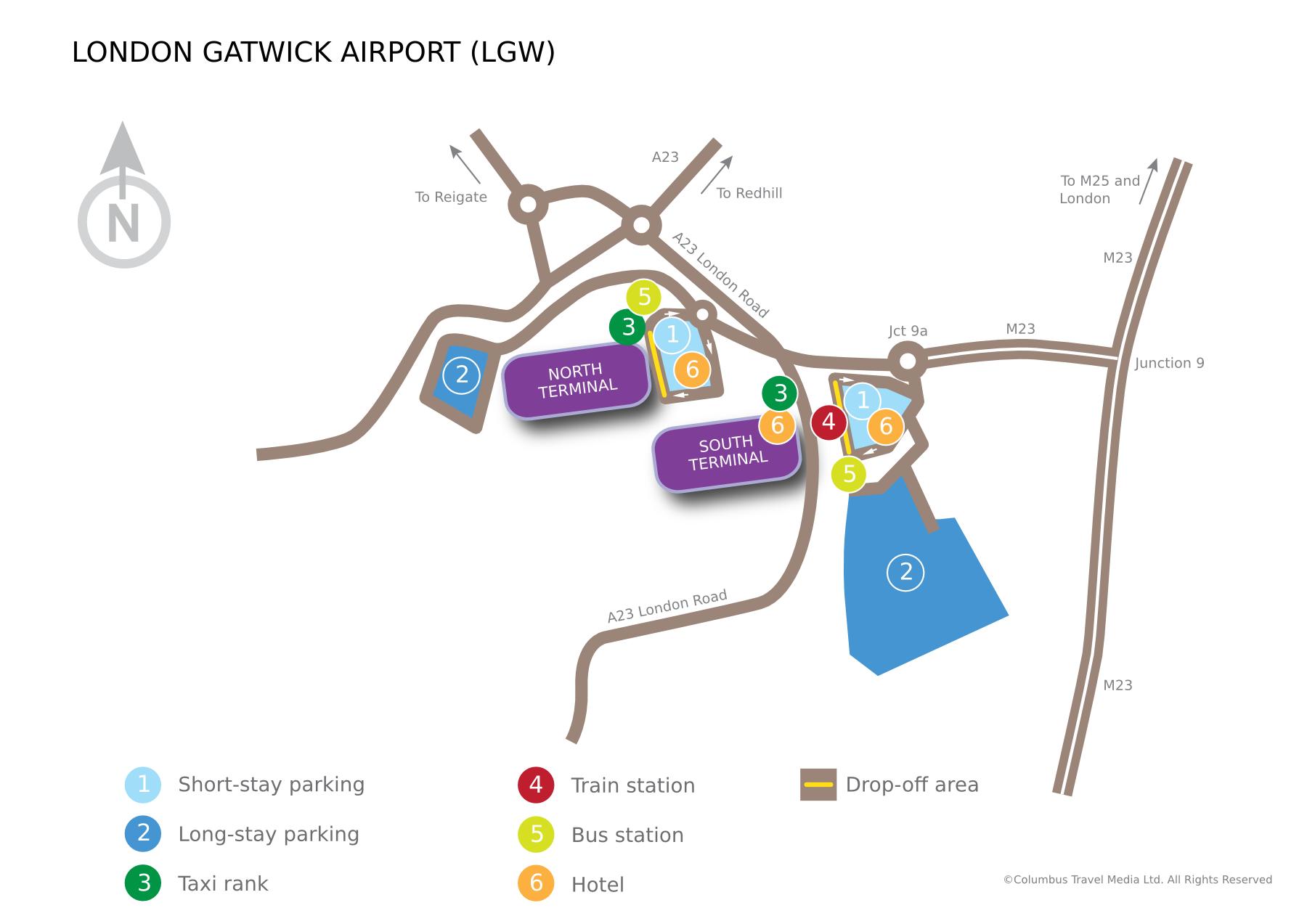 Mapa aerodroma Gatwick