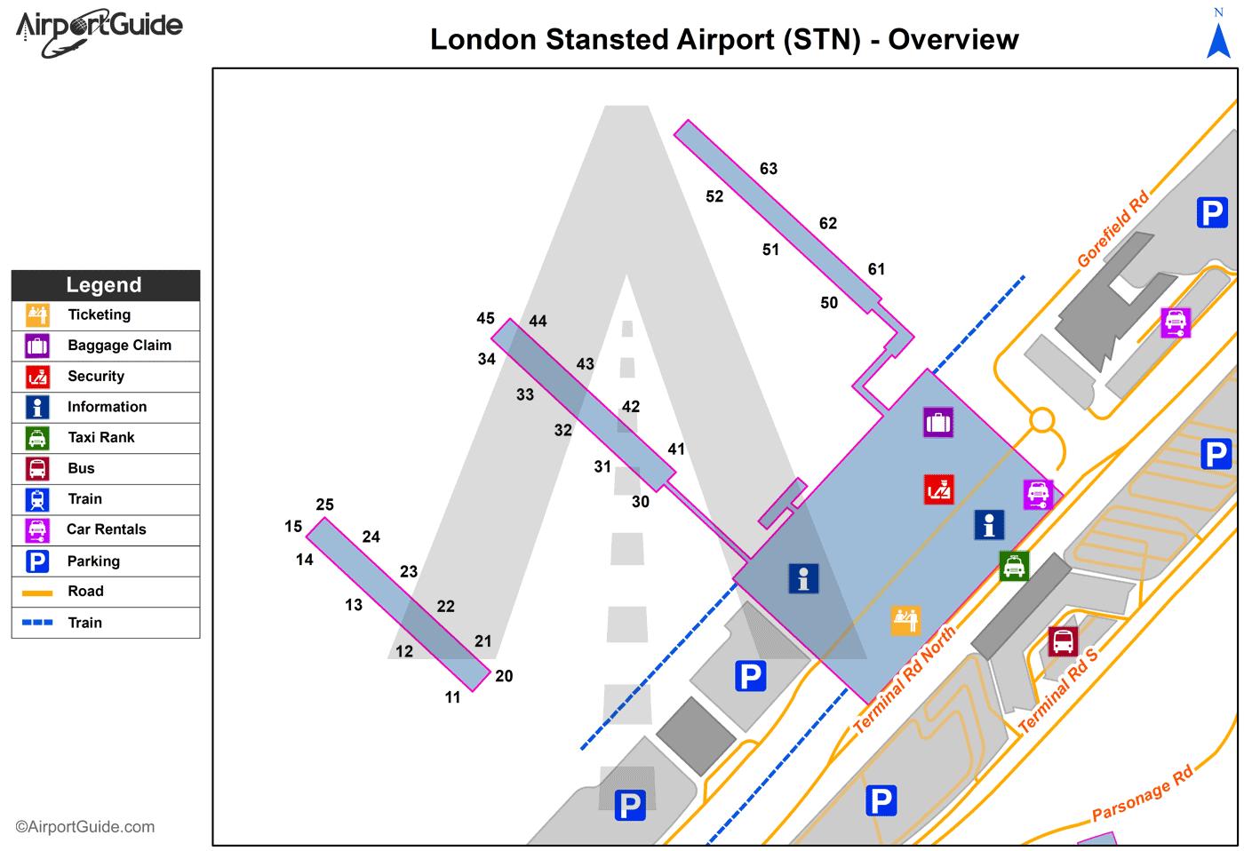 Stansted London mapa aerodroma
